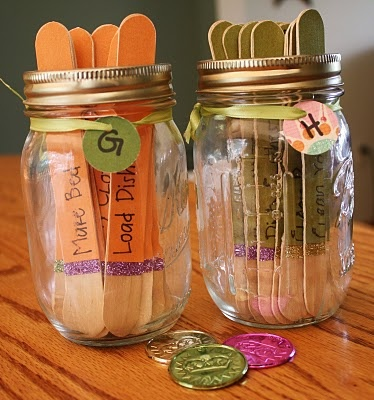 Chore Sticks - I like this one.  I think we are going to go with a version of this for the boys chores.