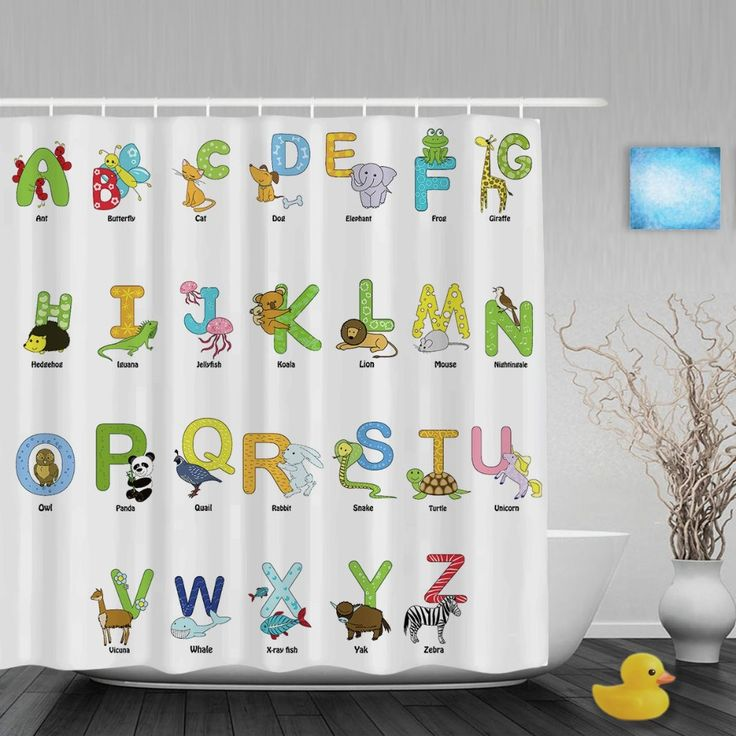 Cartoon Animals Alphabet Letters Kids Shower Cutains Cute Children Bathroom Curtains Polyester Waterproof Fabric With Hooks #Affiliate