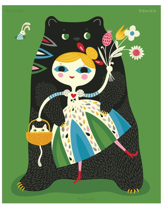 Goldie and the Bear Hugs  limited edition giclee by helendardik, $25.00