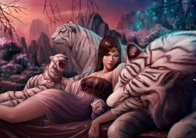 unused fantasy pics | ... Lady Picture (2d, illustration, fantasy, girl, female, woman, tiger
