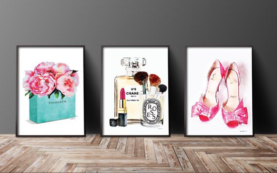 Set of 3 fashion inspired posters watercolor  This listing is for the above 3 prints, but if you would like to swap around colors or flower styles, just message me and I will be happy to list a new combo for you..  - You will receive one of each print, 3 in total. - Dimensions: select from drop down menu - 8x10 inches 12x16 inches, 12x18 inches,16x20 inches,18x24 inches - 24x36 inches is available, please message for new listing. - Printed on archival, acid-free paper. - Museum-quality…