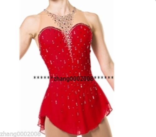 Ice Skating Dress Red Competition Figure Skating Dress Baton Twirling Costume   eBay
