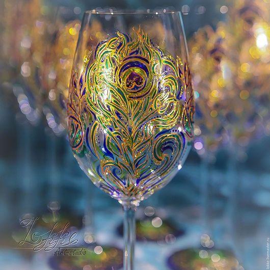 Бокалы, стаканы ручной работы. Ярмарка Мастеров - ручная работа. Купить Винные бокалы - перо павлина. Handmade. Подарок девушке