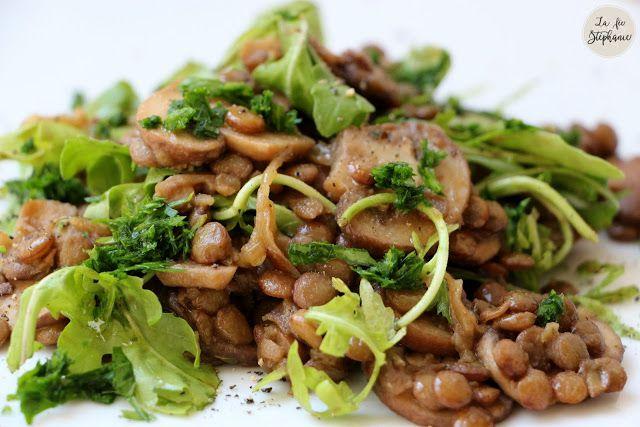 Salade d'automne, lentilles et champignons