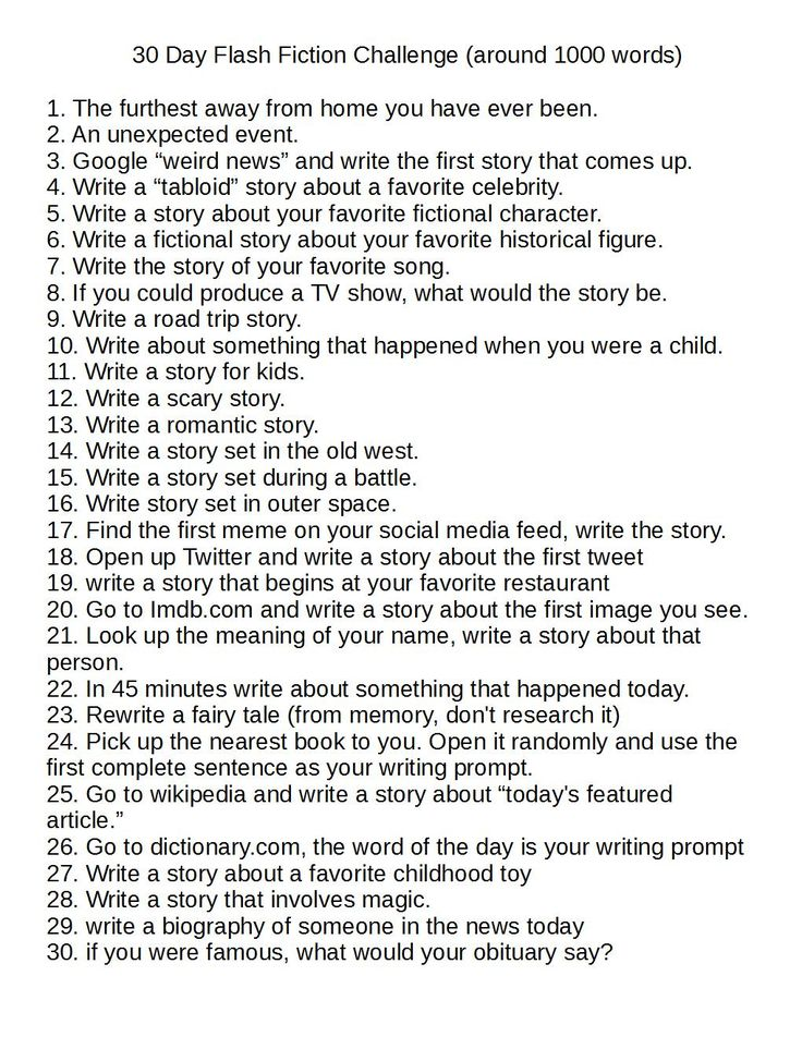 I got tired of 30 day writing challenges that were just lists of stuff about you. So I created a 30 day writing challenge that is 30 flash fiction writing prompts.