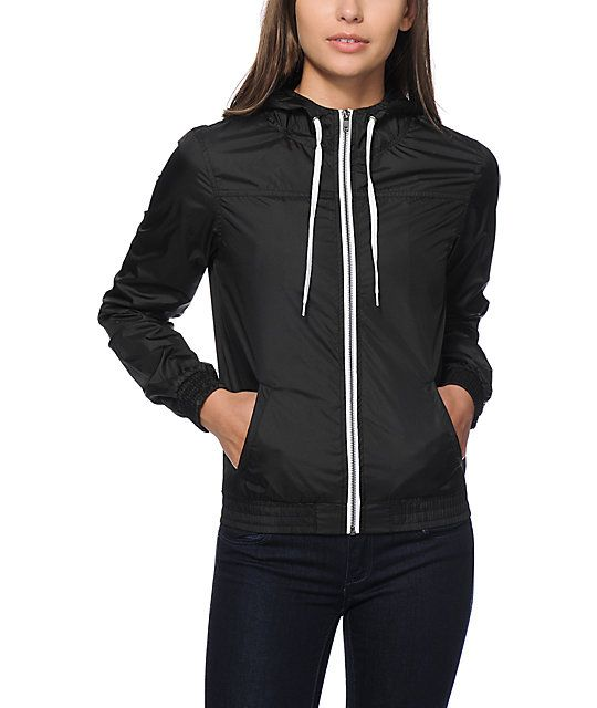 The Zine Girls black windbreaker is a cute lightweight jacket that will quickly become your fave.