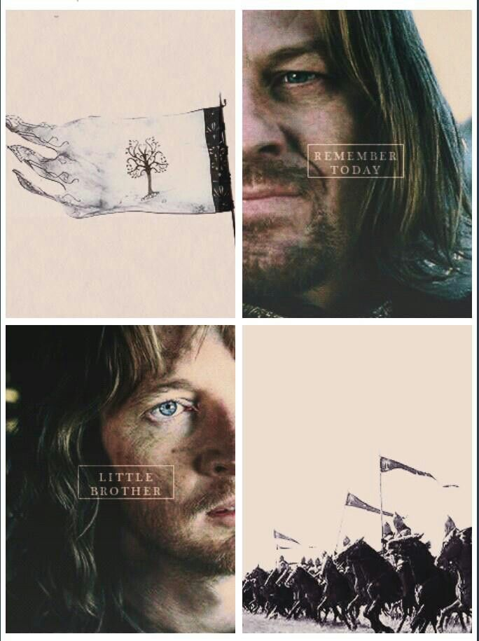 Faramir and Boromir. ONE OF THE THREADS THAT RUND THROUGHOUT THE STORY IS THE SAGA OF THESE TWO BROTHERS AND THEIR FATHER, THE SITTING STEWARD OF GONDOR.