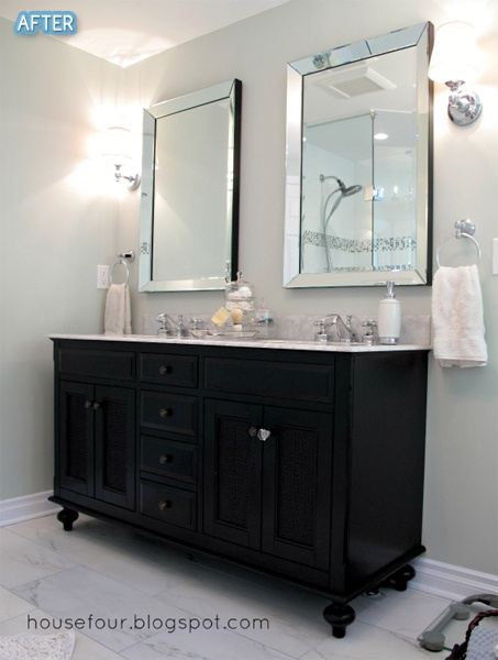 Repurpose a dresser buffet into a vanity so much for Benjamin moore bathroom colors 2011