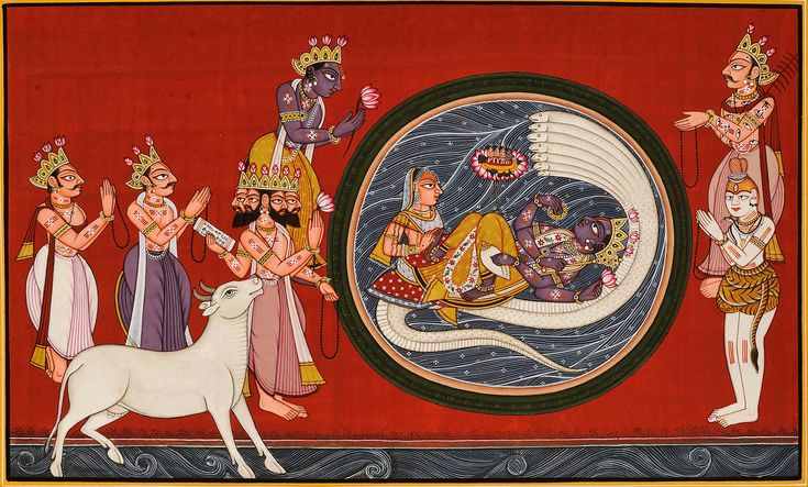 Shiva, Indra, Brahma and the Earth in Form of a Cow Pray to Narayana, Requesting Him to Relieve the Earth's Burden