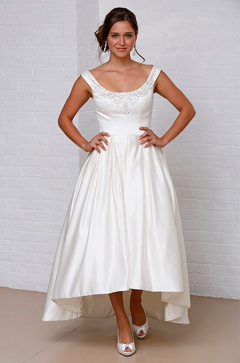 Hi-low hem wedding dress from David's Bridal, Spring 2013.