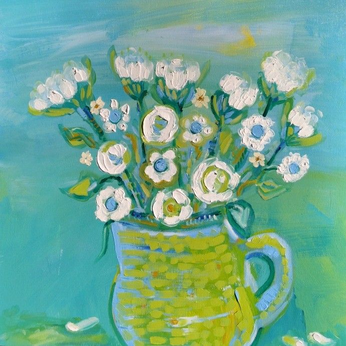 Flowers in the morning.  Oil over Acrylic on wood panel. By Suzanne Reid Moane.
