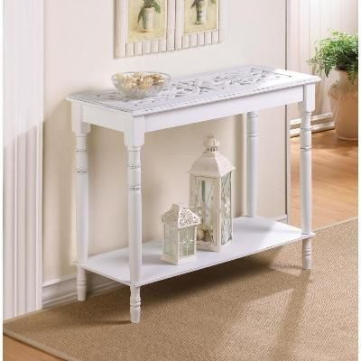 Buy White Wood Carved Table at Olive Tree Home for only $90.72