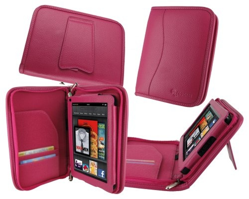 #good rooCASE Executive Portfolio (Magenta) Leather Case Cover with Landscape / Portrait View for Amazon Kindle Fire 7-Inch Android Tablet (NOT Compatible with Fire HD)S   - http://wp.me/p291tj-dJ
