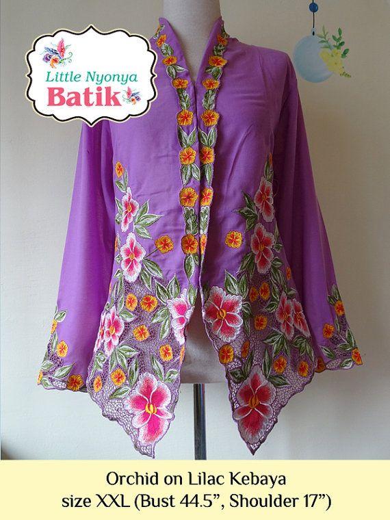 size XXL: Plus Size Peranakan Kebaya Basic Quality. motif orchid in purple