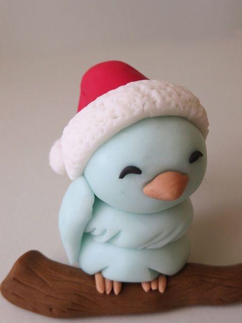 polimer clay christmas bird or fondant ☺️