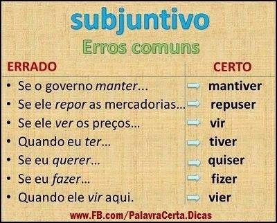 Post #FALASÉRIO! : Veja os erros comuns na utilização do Subjuntivo !...