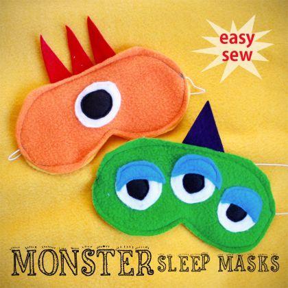 Easy Sew Monster Sleep Masks http://spoonful.com/crafts/easy-sew-monster-sleep-masks