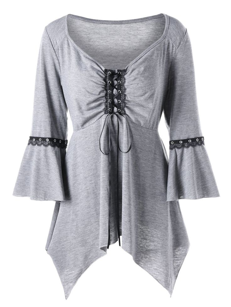 Plus Size Flare Sleeve Lace Up Top in Light Gray 2xl | Sammydress.com