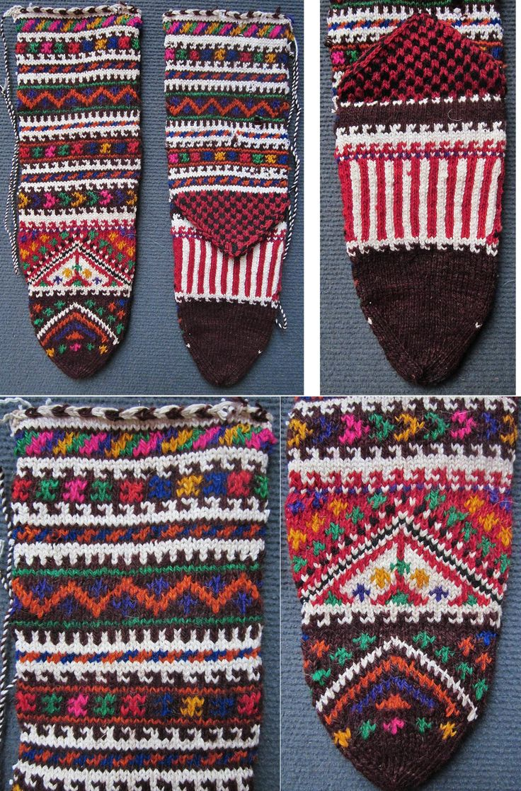 Traditional woollen women's socks, from the Turkish villages in the Ruen district (northern part of the Burgas province, Bulgaria). Made: ca. 1970. (Inv.nr. çor194- Kavak Costume Collection - Antwerpen/Belgium).