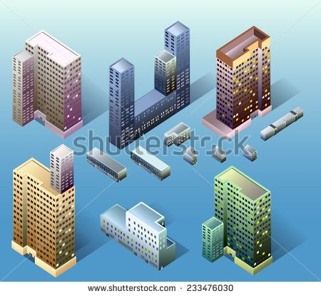 awesome vector #architect #building #isometric #popular #structure #map #world #game #fun #detailed #3d #vector #illustration #business #icon #home