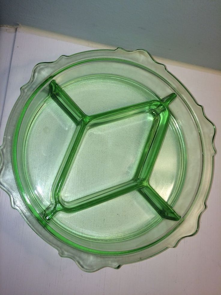 Green Depression glass divided dish