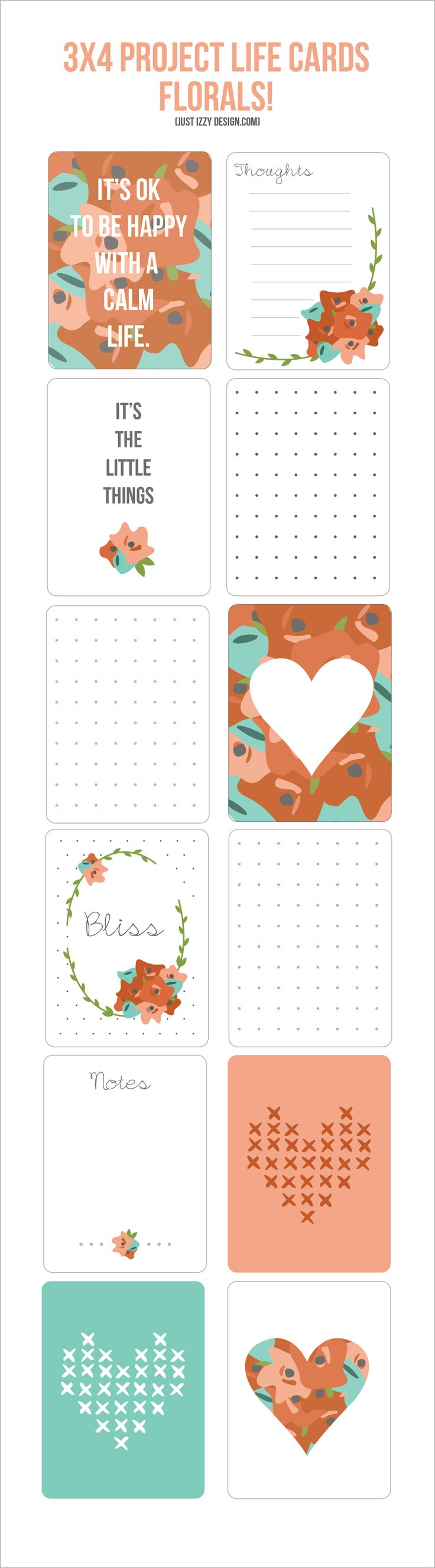 3x4 Project Life Cards #freeprintables #freeprintable #projectlife