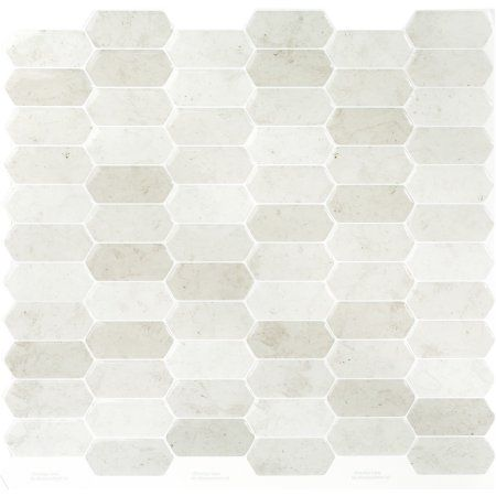 "Peelâ""¢ Self Adhesive backsplash tile - Long Golden Hex - 11 inch X 9.25 inch - 4 pack"