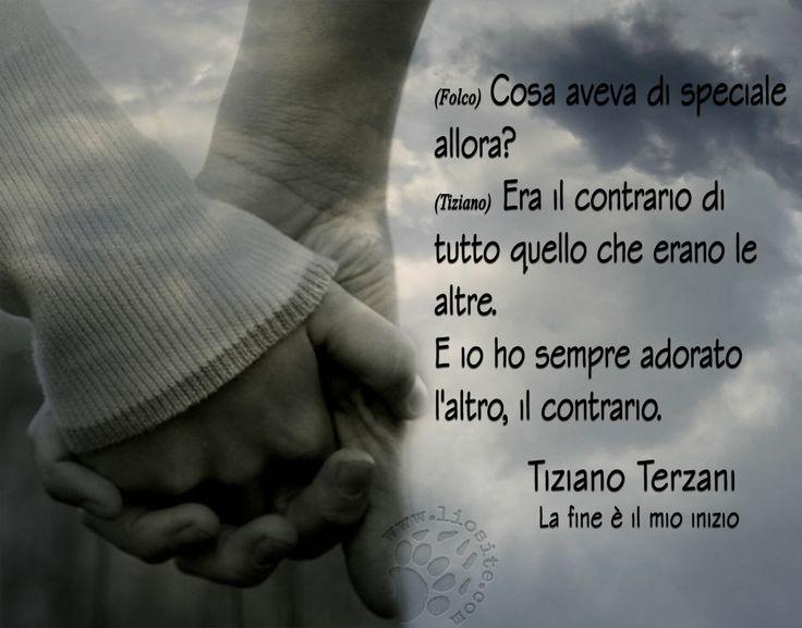 """Un grande amore basato su infinite cose quello tra Tiziano Terzani e la moglie Angela Staude. Ecco con che semplicissime parole lo definisce Terzani:  """"Cosa aveva di speciale allora?  Era il contrario di tutto quello che erano le altre.  E io ho sempre adorato l'altro, il contrario."""" Tiziano Terzani – La fine è il mio inizio  #tizianoterzani, #angelastaude, #matrimonio, #compagna, #amore, #contrario, #attrazione, #italiano,"""