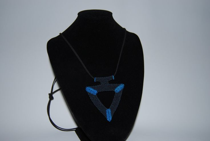 Beaded Triangular Necklace made with TOHO beads - handmade using the Peyote 3D technique by BeaduBeadu on Etsy