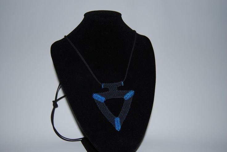 Beaded Triangular Necklace made with TOHO beads - handmade using the Peyote 3D technique by BeaduBeadu on Etsy