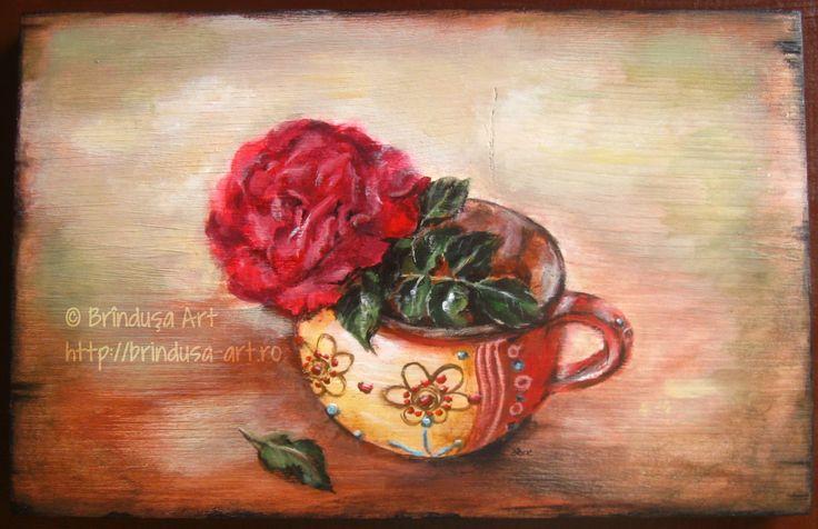 There are many roses in the world, but this one grew in my yard: I enjoyed its color & its fragrance, took its photo in a cup I like, & painted it. Acrylics on wood. Există mulţi trandafiri în lume, dar cel de aici a crescut la mine-n curte: m-am bucurat de culoarea şi parfumul lui, l-am fotografiat într-o cană care mi-e dragă, apoi l-am pictat. Pictură acrilică pe lemn. #woodpainting #picturapelemn #rose #trandafir #cup #cana #art #arta #flower #floare #oneofakind #unicat #handmade…