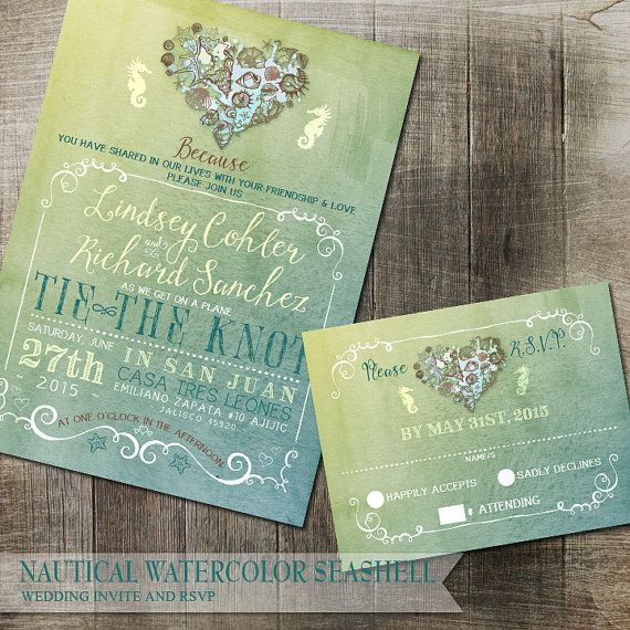 Nautical Watercolor Beach Wedding Invitation DIY Beach Wedding Seahorse Heart Shells Printable Invitation and Rsvp Destination Wedding