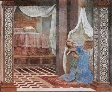 Sandro Botticelli, Annunciazione di San Martino alla Scala, 1481 affresco, 243 x 550 cm, Galleria degli Uffizi, Firenze Photo © Gabinetto Fotografico, Polo Museale, Firenze