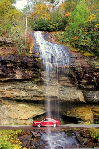 Our kind of drive-thru! Bridal Veil Falls near Highlands, NC, in Nantahala National Forest.