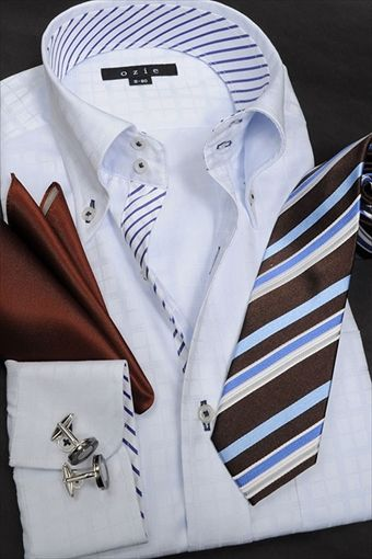 dress shirts+tie+caff links+chief