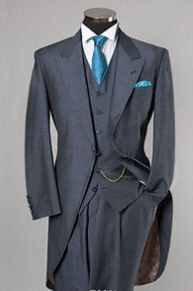 2015 Gray Tailcoat Groom Wedding Tuxedos For Men Morning Suits Groom Slim Fit One Button Wedding Suits (Jacket+Pants+vest+tie)