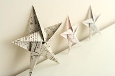 5 pointed origami star Christmas ornaments - step by step instructions