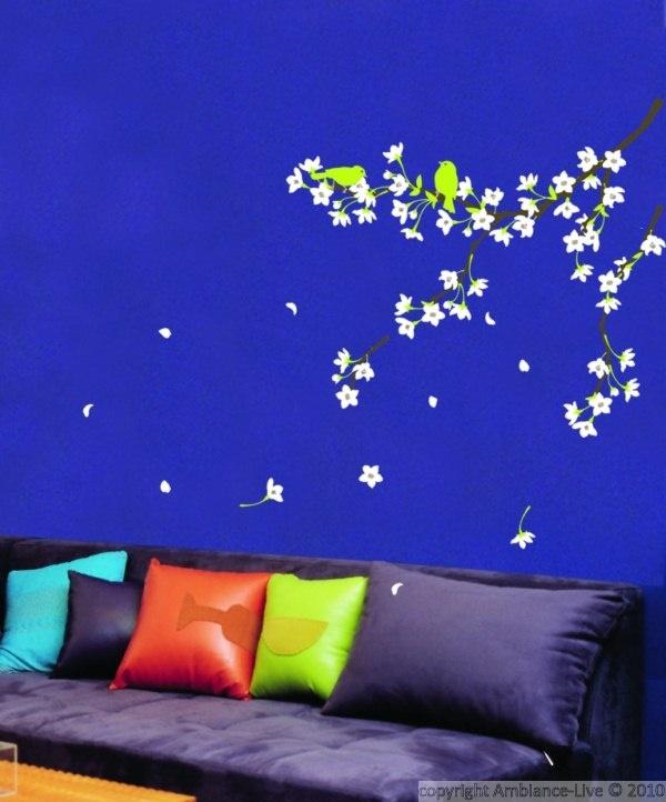 muursticker bloesem op blauw