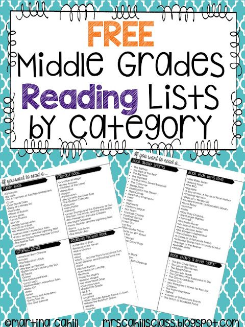 Book Recommendation Lists for Middle Grades | The Hungry Teacher