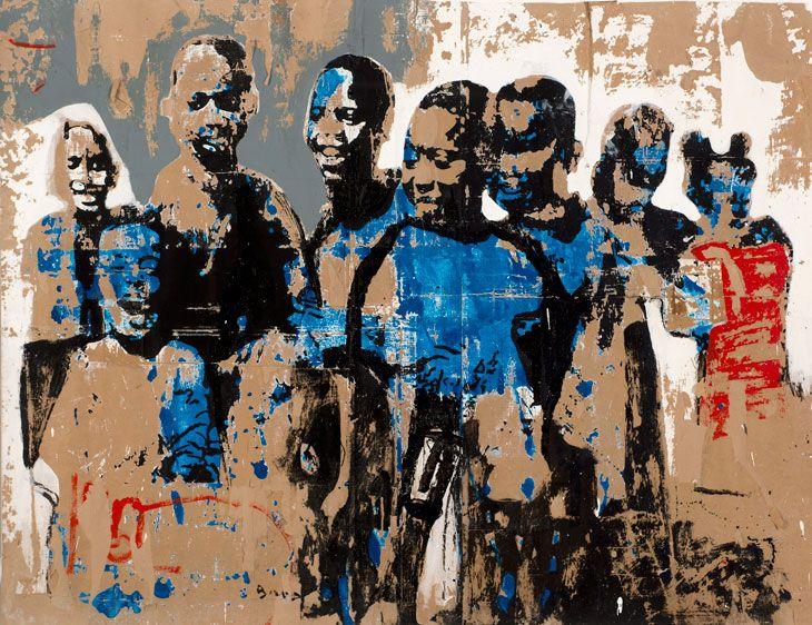 Armand Boua, Foule D'Enfants, 2014, tar and acrylic on board