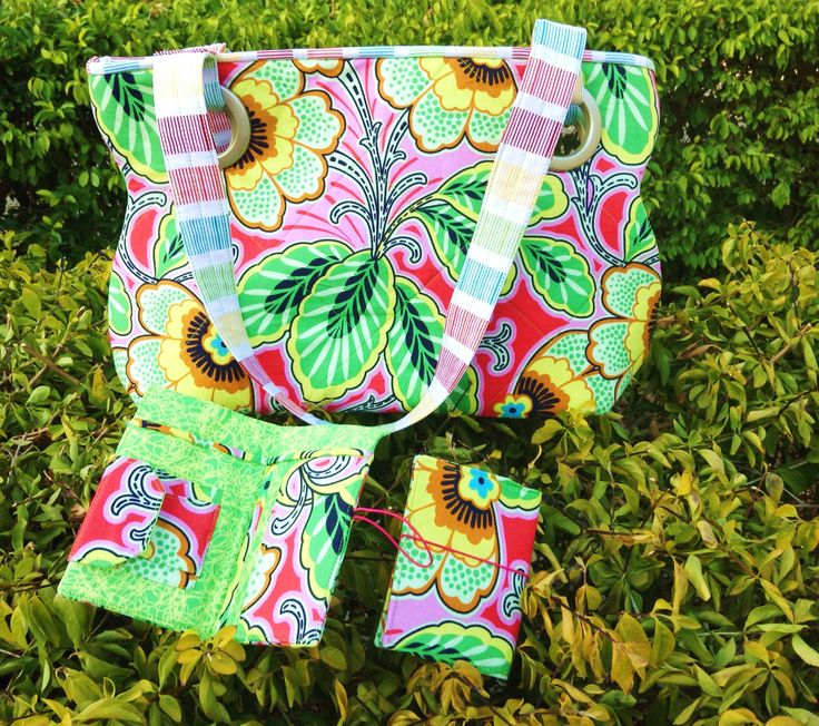 "Set of Curvy Quilted Tote, Wallet and Card Holder in gorgeous Amy Butler fabric ""Lark"""