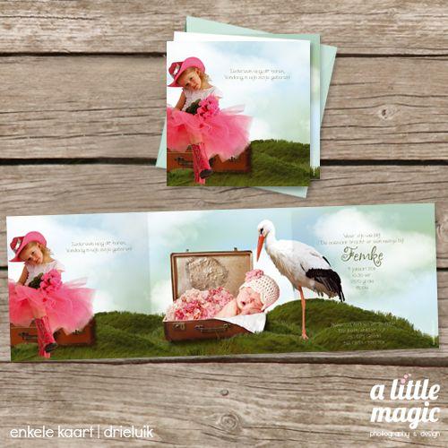 Een lief Sprookjes geboortekaartje met foto van jullie eigen kindje in een koffer in een sprookjeswereld met ooievaar en bloemen. De babyfoto in dit Sprookjes geboortekaartje wordt na de geboorte vervangen door een foto van jullie eigen kindje. Vooraf ontvang je van ons tips hoe je jullie kindje het beste kunt fotograferen voor het mooiste eindresultaat. Broer(s) en/of zus(sen) kunnen ook in het ontwerp geplaatst worden.