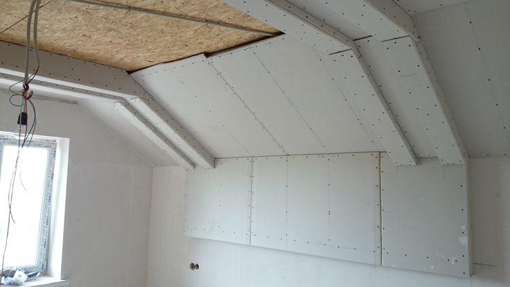 гипсокартонный потолок 9. Прямые сдвоенные короба. Gypsum ceiling.