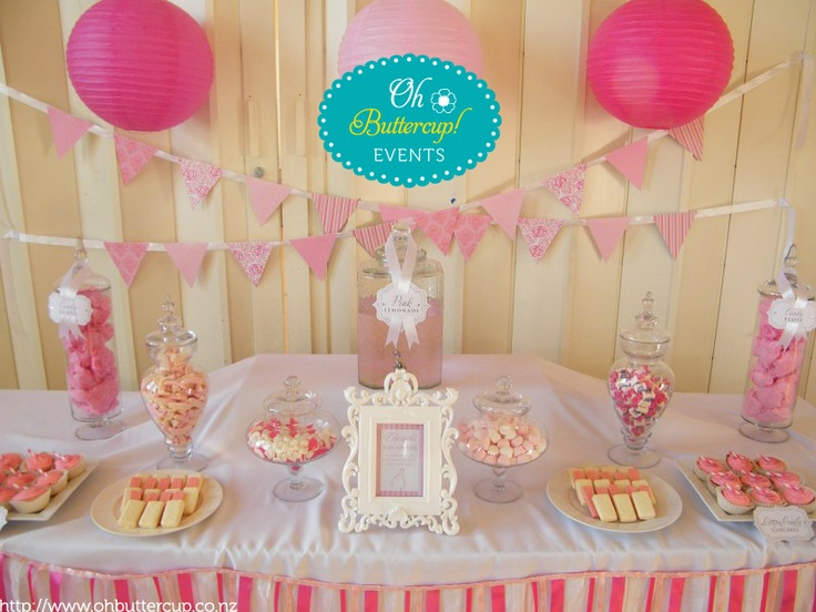 Baby Shower Candy Buffet in pink and white  © Oh Buttercup Events (www.ohbuttercup.co.nz) #pink #white #candy buffet #baby #party #baby shower