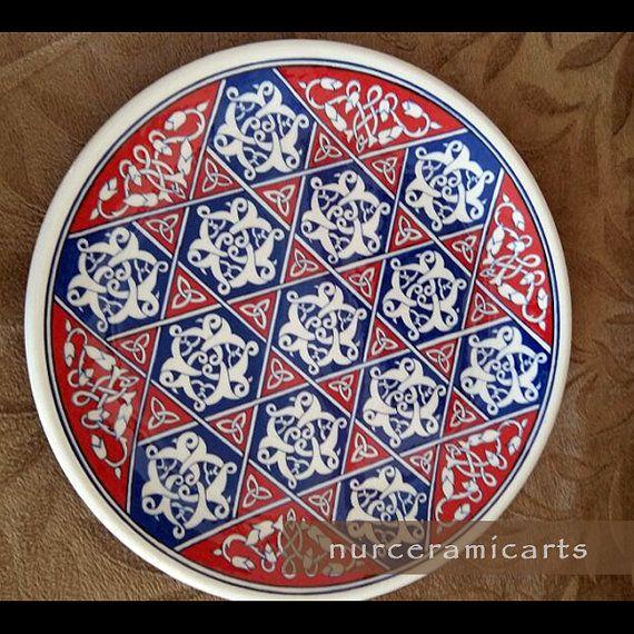 Turkish ottoman passing star iznik tile art by nurceramicarts christmas gifts