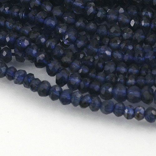 Bead Size : 3 mm Weight per pack : 4 grams Quantity per pack : n/a, strand length 13 1/2 Materials : Iolite, natural  (approximately weight and