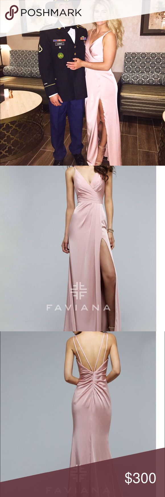 Faviana Dusty Pink Evening Gown Faviana dusty pink Evening Gown. Size: 4. simplistic, yet classic faille satin dress features a v-neck with just the right amount of plunge. The draped front adds texture to the long skirt, while the high slit reveals just the right amount of skin. The back is adorned with thin straps and ruching that are architecturally placed to flatter your figure. This exquisite dress is perfect for a wedding, prom or black tie affair. Worn once, perfect condition. Faviana…
