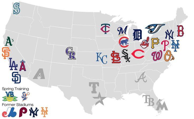 Map of Major League Baseball Teams.   Baseball   Pinterest ...