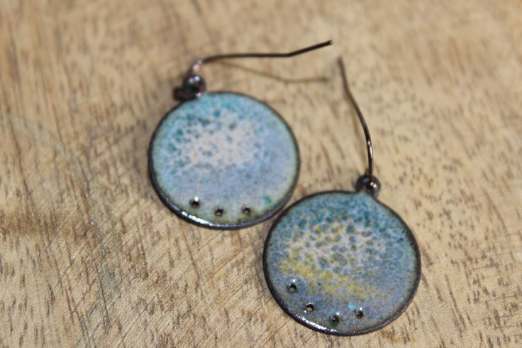 Planet Earrings  Enamel with little punches   Combination of a lot of colours