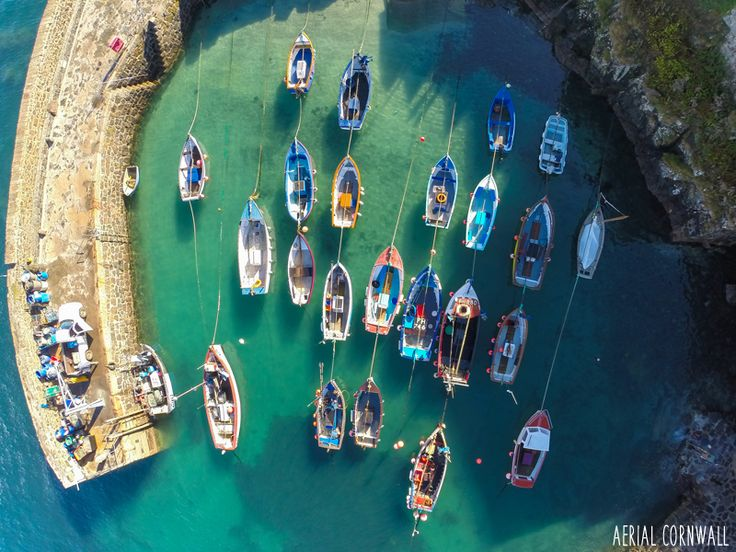 Aerial Cornwall - HD photo of Coverack Harbour, Cornwall